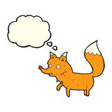 Cartoon fox cub with thought bubble Stock Photography