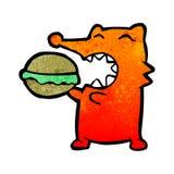 Cartoon fox eating burger Stock Image