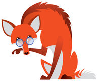 Cartoon fox with glasses Stock Photography