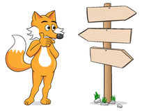 Cartoon fox looking at empty signpost Stock Image