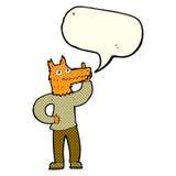 Cartoon fox man with idea with speech bubble Stock Image