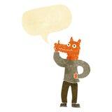 Cartoon fox man with idea with speech bubble Royalty Free Stock Image