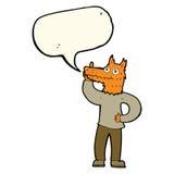 Cartoon fox man with idea with speech bubble Stock Photography