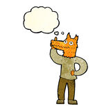 Cartoon fox man with idea with thought bubble Stock Image