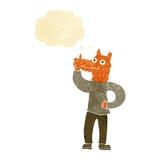 Cartoon fox man with idea with thought bubble Stock Photo