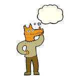 Cartoon fox man with idea with thought bubble Stock Photography