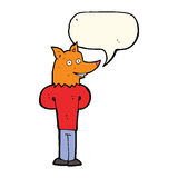 cartoon fox man with speech bubble Royalty Free Stock Photos