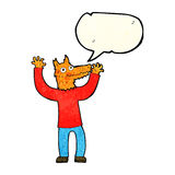 cartoon fox man with speech bubble Stock Photos