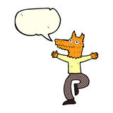 cartoon fox man with speech bubble Royalty Free Stock Images