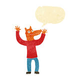 cartoon fox man with speech bubble Stock Image