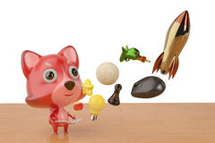 A cartoon fox open book and pop up many things,3D illustration. Royalty Free Stock Photos
