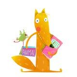 Cartoon fox reading books with bird friend Stock Images