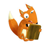 Cartoon fox sitting - reading and writing -. Happy and funny cartoon child -  - illustration for different usage Stock Photos
