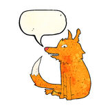 cartoon fox sitting with speech bubble Stock Image