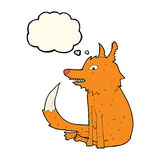 cartoon fox sitting with thought bubble Royalty Free Stock Image