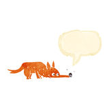 Cartoon fox sniffing floor with speech bubble Royalty Free Stock Photography