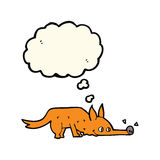 Cartoon fox sniffing floor with thought bubble Stock Photo