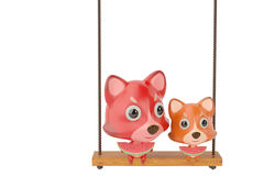 A cartoon fox and son eating a watermelon on the swing,3D illust. A cartoon fox and son eating a watermelon on the swing Stock Photo