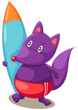 Cartoon fox with surfboards Royalty Free Stock Photography
