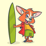 Cartoon fox surfer with surfboard. Vector illustration. Royalty Free Stock Photos