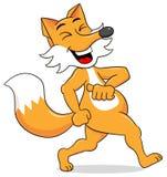 Cartoon fox  is walking satisfied Royalty Free Stock Photo