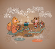 Cartoon fox and wolf tea time Royalty Free Stock Images