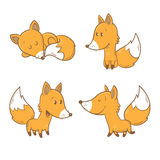 Cartoon foxes set. Cute cartoon foxes set. Funny forest animals. Four foxes  in different poses. Children's illustration. Vector image Royalty Free Stock Photo