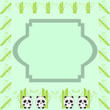 Cartoon frame - bamboo & three little pandas illustration Stock Photography