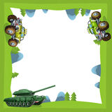 Cartoon frame of a car truck and tank in the forest off road with space for text Royalty Free Stock Image