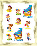Cartoon frame with children on the beach playing and sailing space for text. Beautiful and colorful illustration for the children - for different usage - for stock illustration