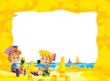 Cartoon frame with children on the beach playing in sand sailboats in the background - space for text. Beautiful and colorful illustration for the children - for stock illustration
