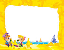 Cartoon frame with children on the beach playing in sand sailboats in the background - space for text. Beautiful and colorful illustration for the children - for vector illustration