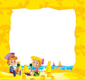 Cartoon frame with children on the beach playing in sand - space for text. Beautiful and colorful illustration for the children - for different usage - for fairy vector illustration