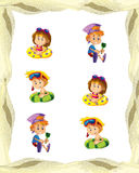 Cartoon frame with children on the beach playing space for text. Beautiful and colorful illustration for the children - for different usage - for fairy tales stock illustration
