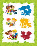 Cartoon frame with children playing in different situations Stock Images