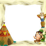 Cartoon frame for different usage indian character with a spear near the tee pee Stock Image
