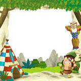 Cartoon frame for different usage indian character with a spear near the tee pee. Beautiful and colorful illustration for the children - for different usage Stock Image