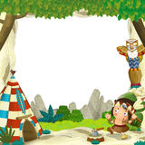 Cartoon frame for different usage indian character with a spear near the tee pee. Beautiful and colorful illustration for the children - for different usage Stock Images