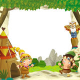 Cartoon frame for different usage indian characters husband with a spear and wife standing near the tee pee Royalty Free Stock Photo