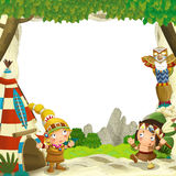 Cartoon frame for different usage indian characters husband with a spear and wife standing near the tee pee Stock Image