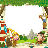 Cartoon frame for different usage indian characters husband with a spear and wife standing near the tee pee. Beautiful and colorful illustration for the children stock illustration