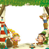 Cartoon frame for different usage indian characters husband with a spear and wife standing near the tee pee. Beautiful and colorful illustration for the children royalty free illustration