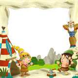 Cartoon frame for different usage indian characters husband with a spear and wife standing near the tee pee. Beautiful and colorful illustration for the children vector illustration