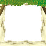 Cartoon frame for different usage with sand and trees. Beautiful and colorful illustration for the children - for different usage - for fairy tales stock illustration