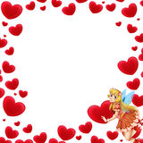Cartoon frame with fairy and valentine hearts Stock Photos
