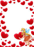 Cartoon frame with fairy and valentine hearts Stock Image