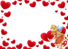 Cartoon frame with fairy and valentine hearts Royalty Free Stock Images