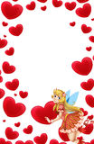 Cartoon frame with fairy and valentine hearts Royalty Free Stock Photo