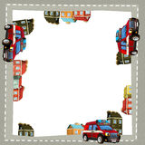 Cartoon frame of a firetruck cargo in the city on the road with space for text Stock Photos