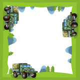 Cartoon frame of a military truck in the forest off road with space for text Royalty Free Stock Photos